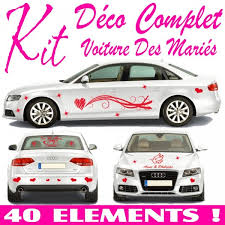 stickers mariage voiture kit complet 40 pcs stickers