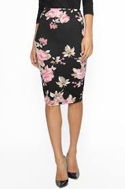 themogan women u0027s floral print stretch pencil midi skirt casual