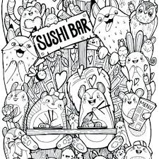 Sushi Coloring Pages Doodles Wood Mouse Doodle Kawaii