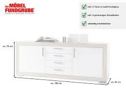 sideboard weiß hochglanz sonoma eiche 198 cm 2 türig fernando