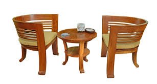 2 Chairs With Center Table Teak Wood Set