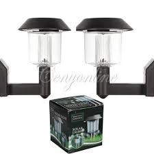 new 2x led solar power wall mount outdoor landscape garden yard