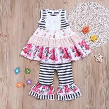2019 Nuevo Verano Cuello Redondo Carta De Impresión Vestido De Las Muchachas De Rayas Pantalones Chica Campana Inferior Pantalones De Dos Piezas