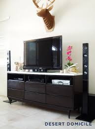 Mid Century Modern Dresser Turned Entertainment Center In Living Room Idea 1