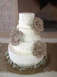 Rustic Country Buttercream Wedding Cake With Burlap Flowers