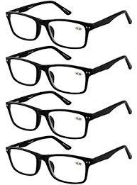 Eyecedar 4 Pack Reading Glasses Men Flexible Material Black Rectangle Frame Metal Spring Hinges Include