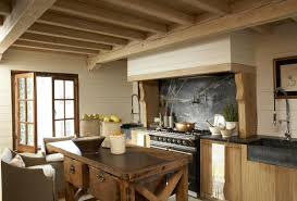 Gorgeous Black Granite Backsplash Old Country Kitchen Decoration Ceiling With Wood Beams Casement Window Rustic Butcher Block Island