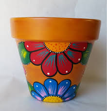 I Like This Pottery Hand Painted Flower Pot Rustic