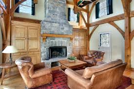 Stone Fireplace With Built In A Beautiful Rustic Living Room Pine Ins On Either