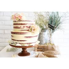Two Tier Semi Naked Wedding Cake For Rustic