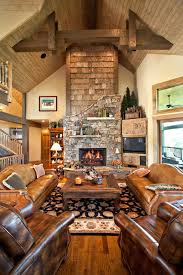 Primitive Rustic Decor Living Room With Tg Ceiling Wood Floor