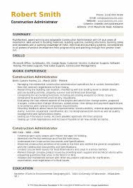 Construction Administrator Resume Example