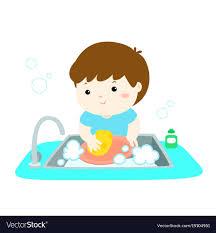 Happy Boy Washing Dish On White Background Vector Image Stock