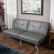 Heston Grey Vinyl Click Clack Futon Sofa Bed GDF Studio