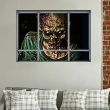 Halloween 3D Horrible Zombie Fake Windows Sticker Bedroom Living Room Haunted House Decor Ghost Wall Stickers