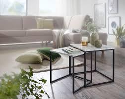 wohnling design beistelltisch 2er set marmor optik weiß couchtisch 2 teilig tischgestell schwarz