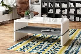 design couchtisch tisch rock weiß hochglanz beton betonoptik wohnzimmertisch 100x60x43cm mit ablagefläche design impex