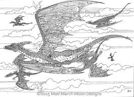Colouring Pages 5 Dragon Themed Coloring Highly Detailed Page Pdf Booklet Instant Download