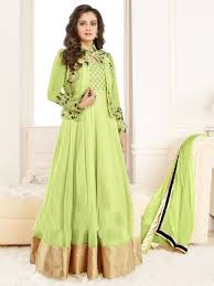 green color heavy georgette embroidered bollywood inspired