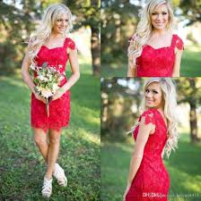 2017 new country short bridesmaid dresses red full lace short
