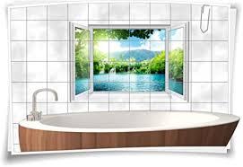 medianlux fliesenaufkleber fliesenbild fliesen see wasserfall insel aufkleber bad deko wc badezimmer dekoration 90x60cm 15x20cm bxh