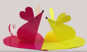 Valentine Paper Heart Animals Mice Crafts Kids