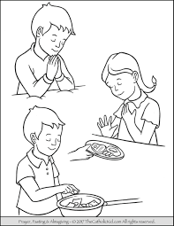 Lent Children Pray Fast Almsgiving Coloring Page