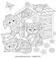 Coloring Page Of Dog Two Cats Sparrow Bird And Butterfly Freehand Sketch Drawing