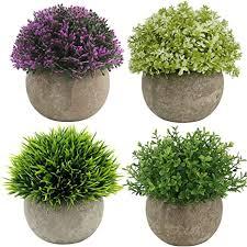 ogrmar 4 x mini kunstpflanzen gras im topf kleine künstliche grünpflanzen mini pflanzen formschnittsträucher künstliche pflanzen für badezimmer