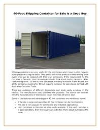 104 40 Foot Containers For Sale Shipping Container Is A Good Buy