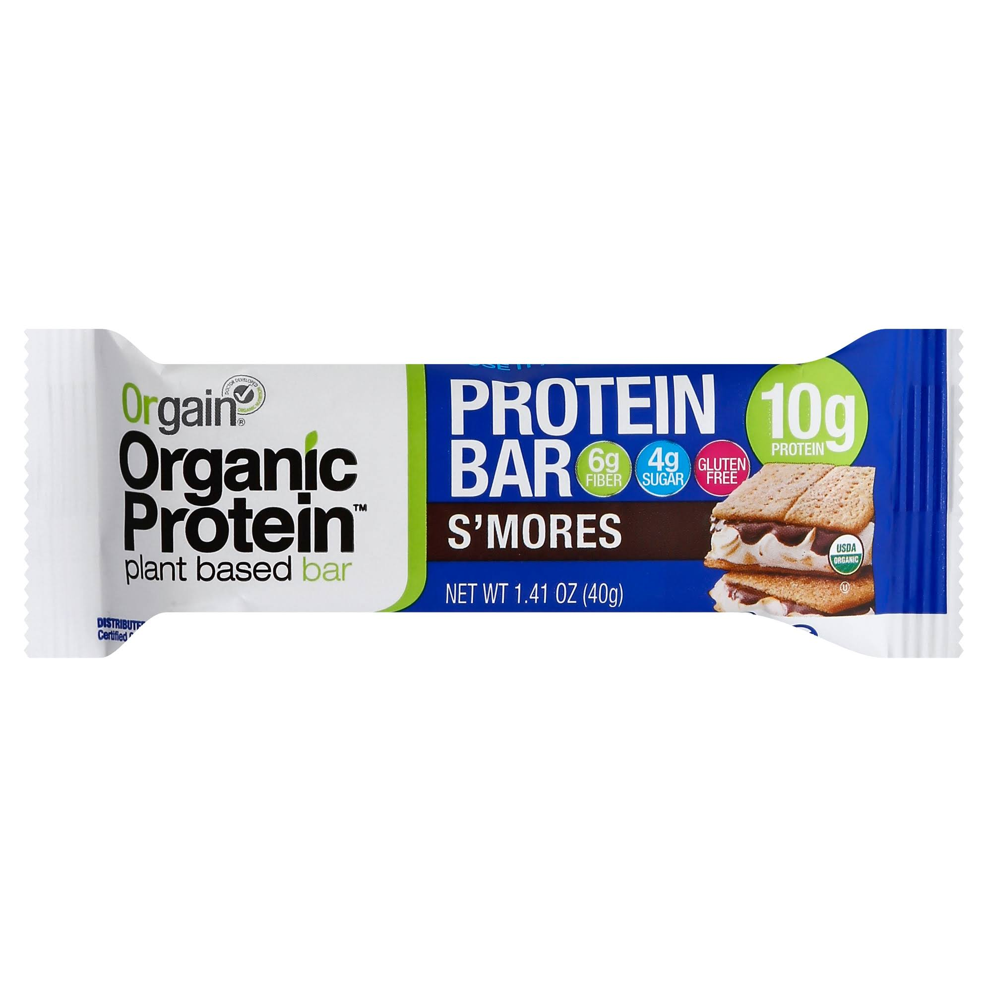 Orgain Organic Protein Plant Based Bar - 40g, S'mores