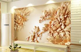 3D Wooden Peony Flower TV Wall Mural 3d Wallpaper Papers For Tv Backdrop Stereoscopic Murals Paintings