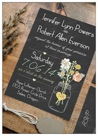 Mason Jars Inspired Chic Rustic Chalkboard Wedding Invitations Ewi369