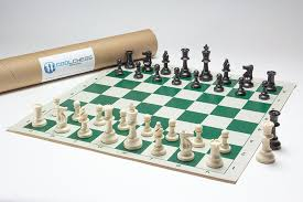 Club Chess Pieces With Vinyl Board In A Cardboard Tube