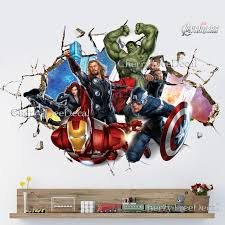 super hero avengers wall crack decal sticker boys bedroom decor