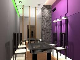 Stunning Contemporary Dining Room Sets With Purple Painted Wall And Square Black Table Also White Chairs Exposed Stone Pillars