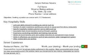 Restaurant Duties Resume Hostess Examples Waiter Skills Resumes Waitress Sample