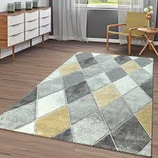 teppich gelb grau rauten design 3 d muster wohnzimmer