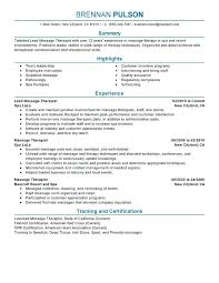Massage Therapist Sample Resume Therapy Objective Statement