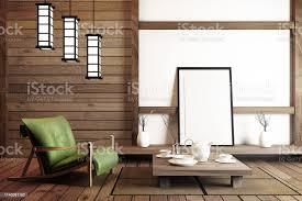 mock upmodernes wohnzimmer japanischer stil 3drendering stockfoto und mehr bilder baum