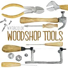 Watercolor Woodshop Tools Shop Woodworking Clipart