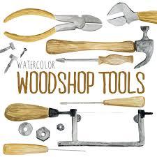 Watercolor Woodshop Tools Shop Woodworking Clipart
