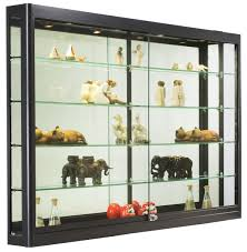 Wall Mounted Display Shelves Collectible Black Stained Wooden Shelf With Clear Glass