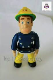 fireman sam cake topper made with marshmallow