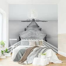 fototapete hölzerner pier und schwarz weiß