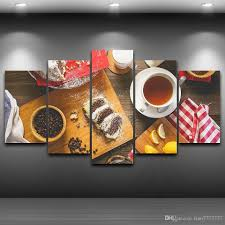 5 Panel Unframed Coffee Food Wall Canvas Paintings HD Print Art Modular Pictures For Restaurant Kitchen Decor