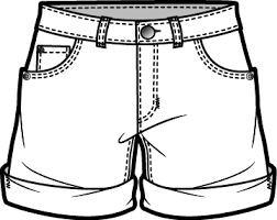 shorts clipart black and white 2