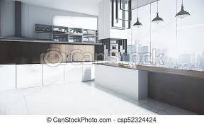 Modern White Kitchen Interior 3d Rendering Stockfoto Und Modern White Kitchen Interior