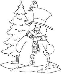 Forest Snowman Print Coloring Pages For Kids