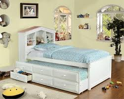 Timberline White Pink Dollhouse Twin Platform Bed w Drawers